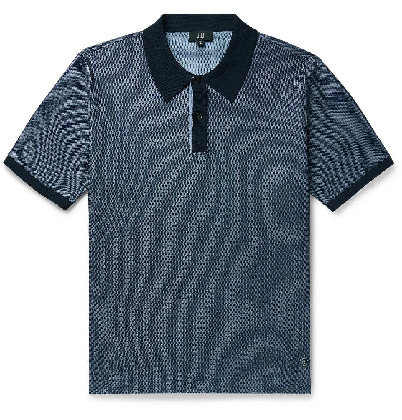 Dunhill - Colour-Block Cotton-Piqué Polo Shirt - Blue