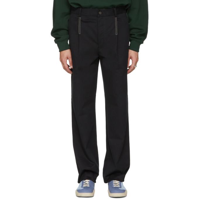 Acne Studios Black Straight Pleated Trousers