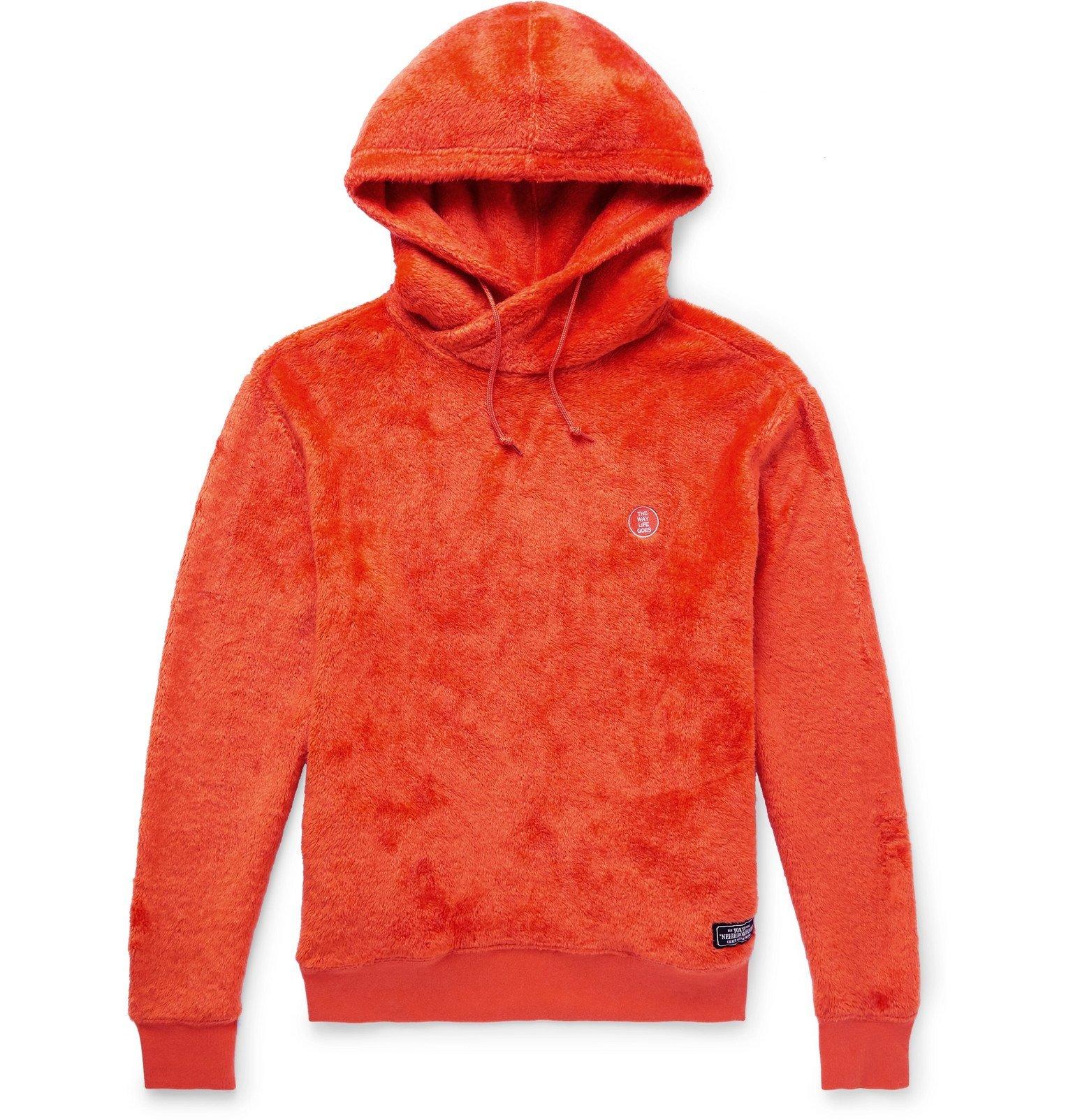 Photo: Neighborhood - Logo-Embroidered Fleece Hoodie - Orange