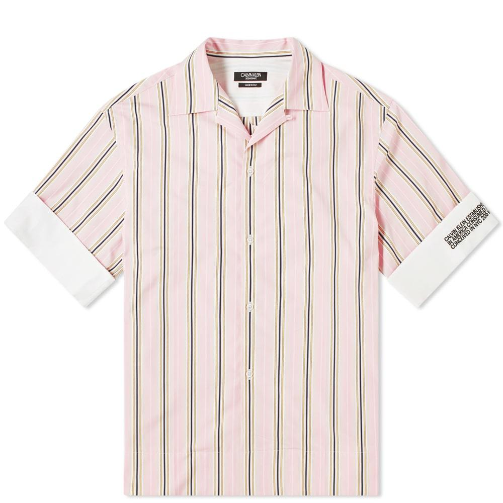 Photo: Calvin Klein 205W39NYC Faded Stripe Vacation Shirt Pink, White, Yellow & Marine
