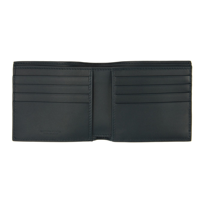 Bottega Veneta Navy Intrecciato Bifold Wallet