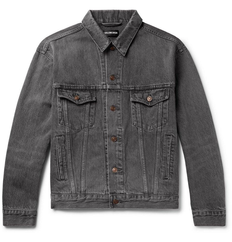 Photo: Balenciaga - Logo-Print Denim Jacket - Gray