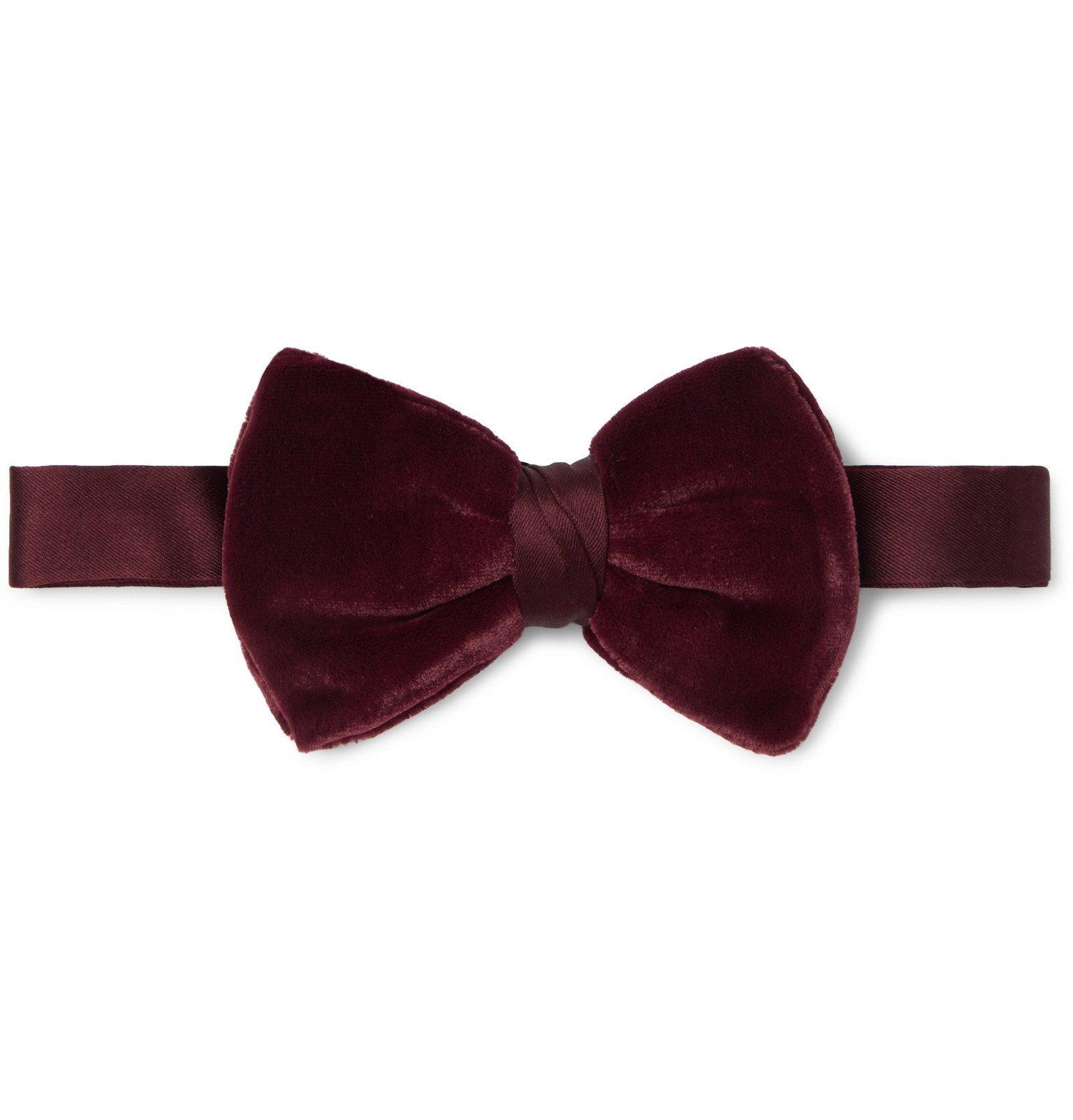 Giorgio Armani - Pre-Tied Velvet and Silk-Blend Satin Bow Tie - Burgundy