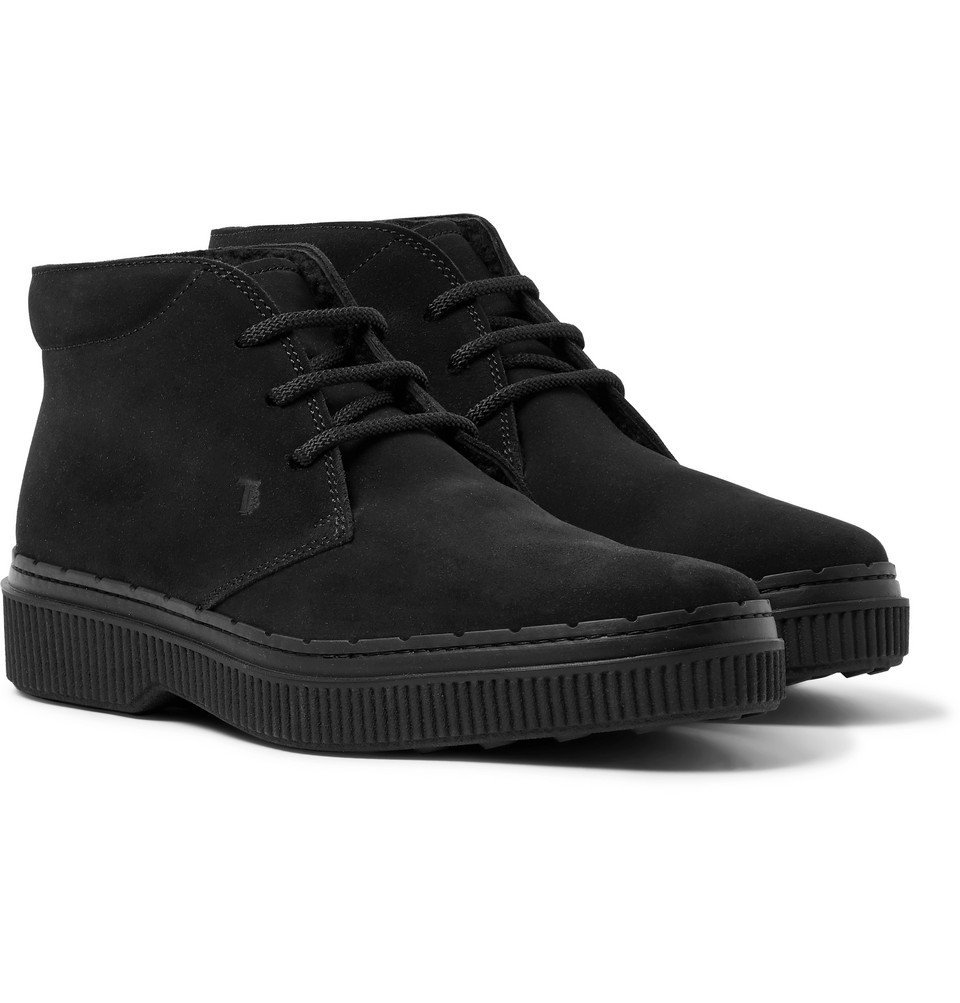 Photo: Tod's - Shearling-Lined Suede Chukka Boots - Black