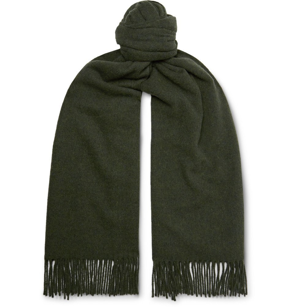 Photo: Acne Studios - Canada Fringed Mélange Wool Scarf - Green