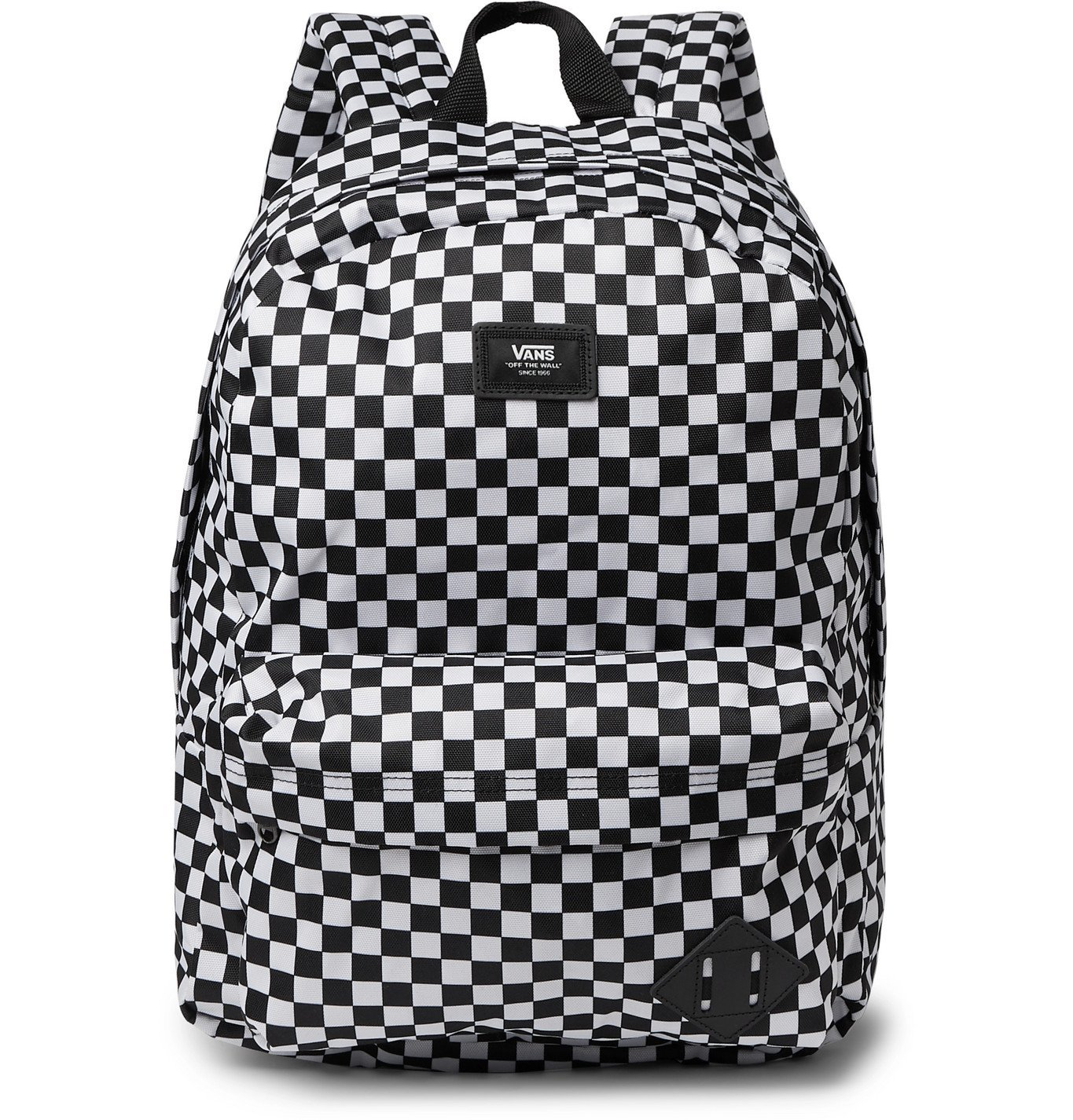 Photo: Vans - Logo-Appliquéd Leather-Trimmed Checkerboard Nylon Backpack - Black