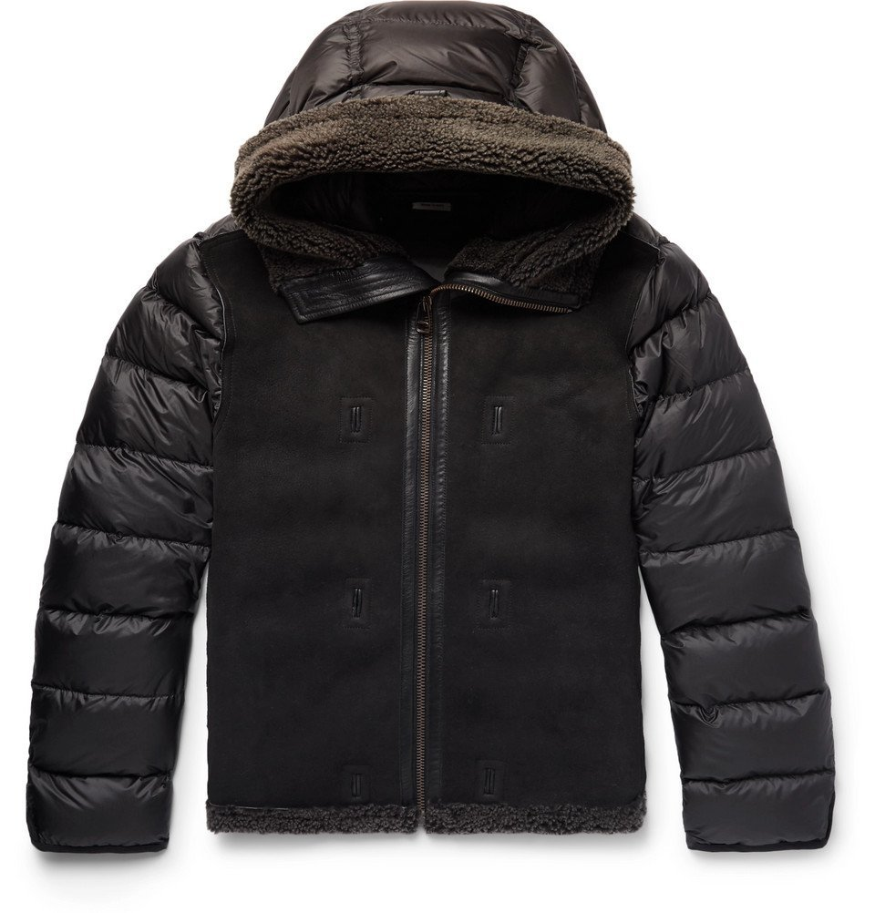 Photo: Ten C - Grosgrain-Trimmed Shearling and Quilted Nylon Hooded Down Jacket Liner - Men - Dark gray
