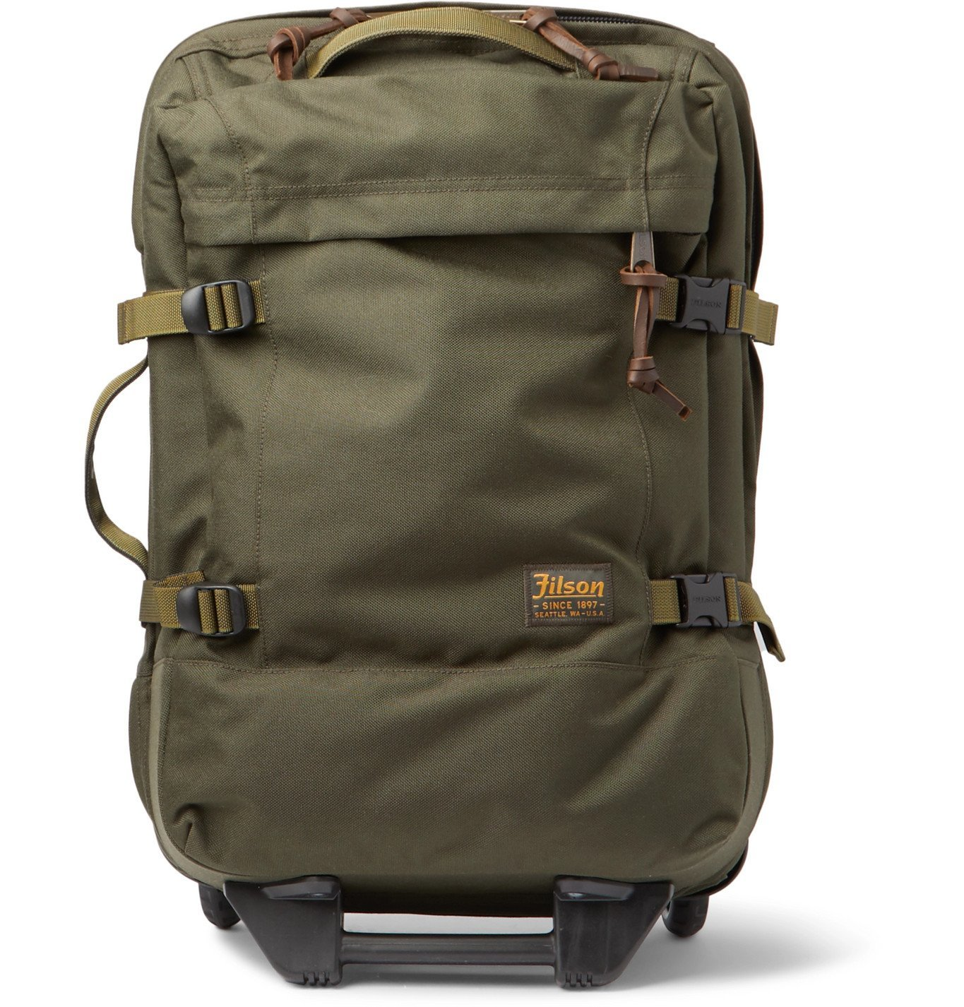 Photo: Filson - Dryden 56cm Leather-Trimmed CORDURA Carry-On Suitcase - Green