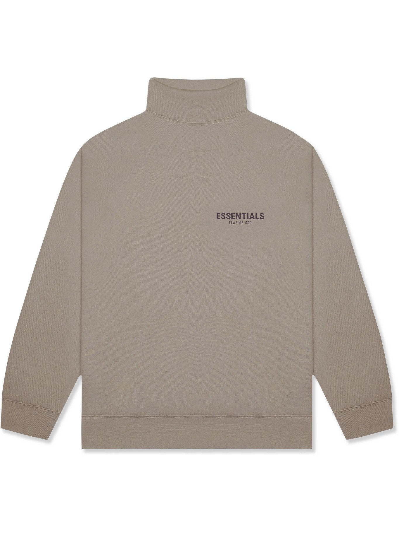 Photo: Fear of God Essentials - Logo-Print Cotton-Jersey Mock-Neck Sweater - Brown