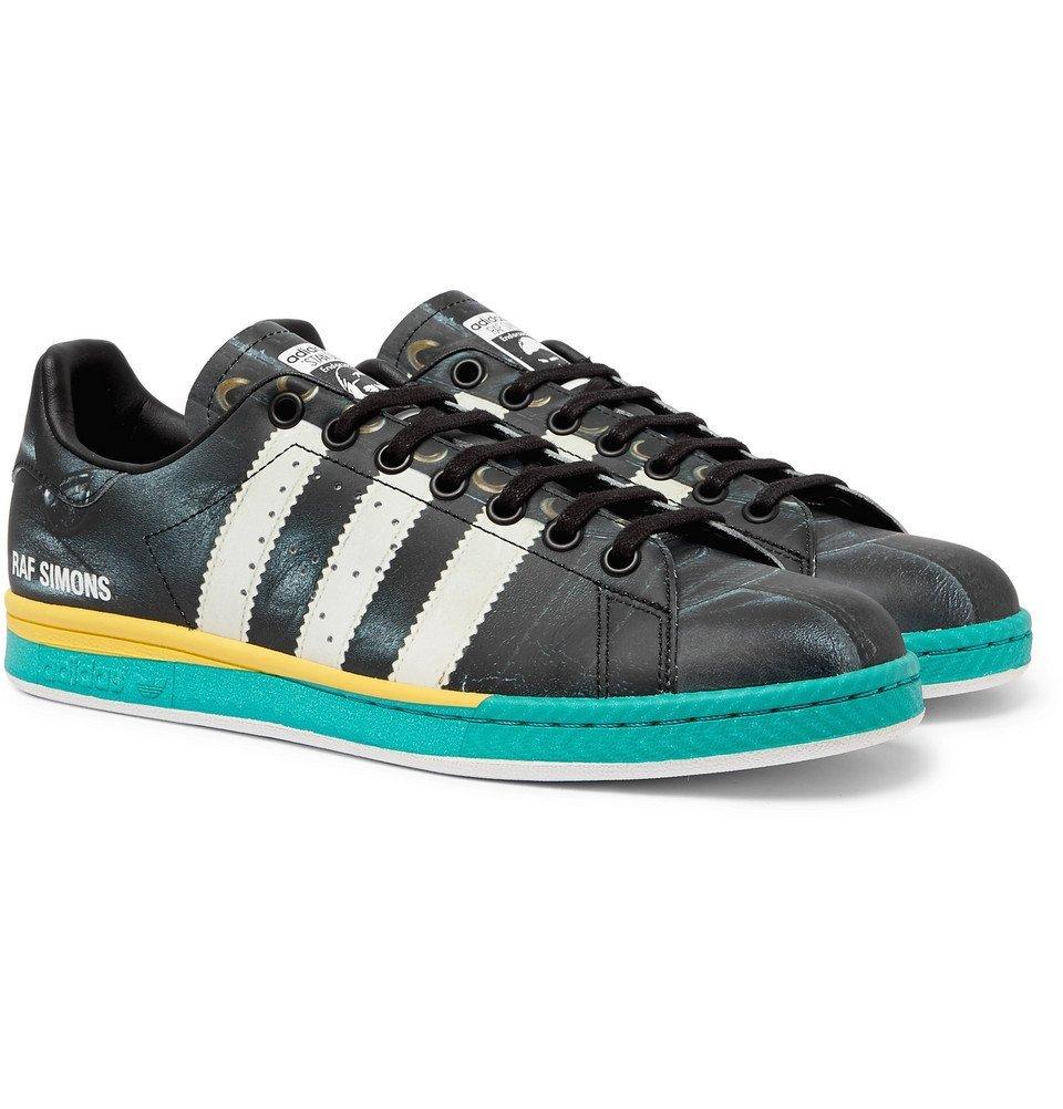 Photo: Raf Simons - adidas Originals Samba Stan Smith Printed Leather Sneakers - Black