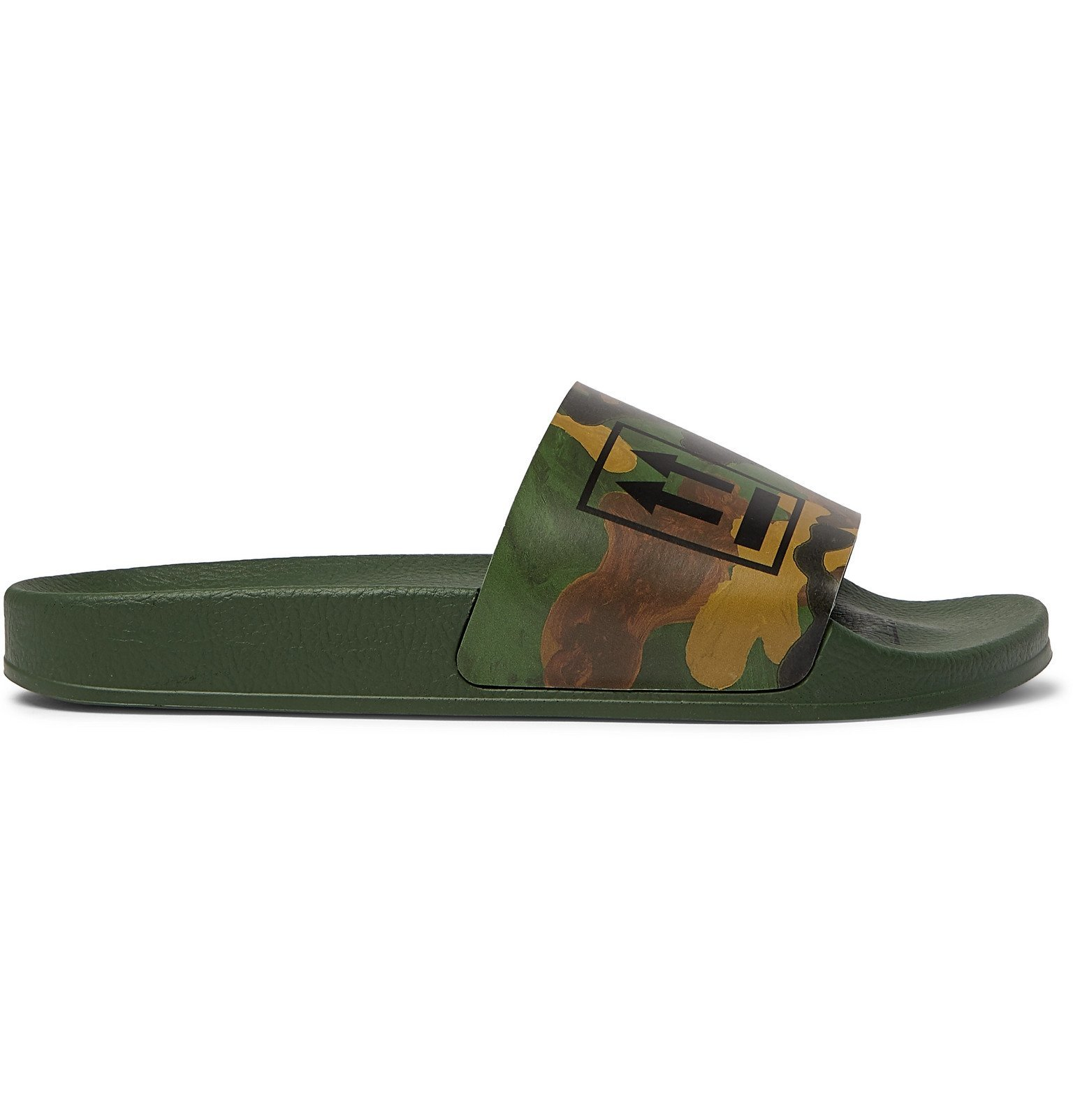 Photo: Off-White - Camouflage-Print Rubber Slides - Green