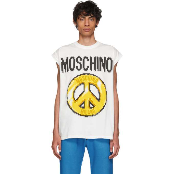Photo: Moschino White The Sims Edition Pixel Peace Tank Top