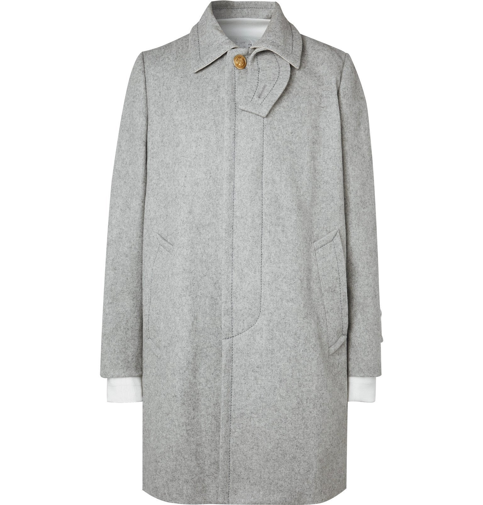 Sacai - Layered Melton Wool-Blend Coat - Gray
