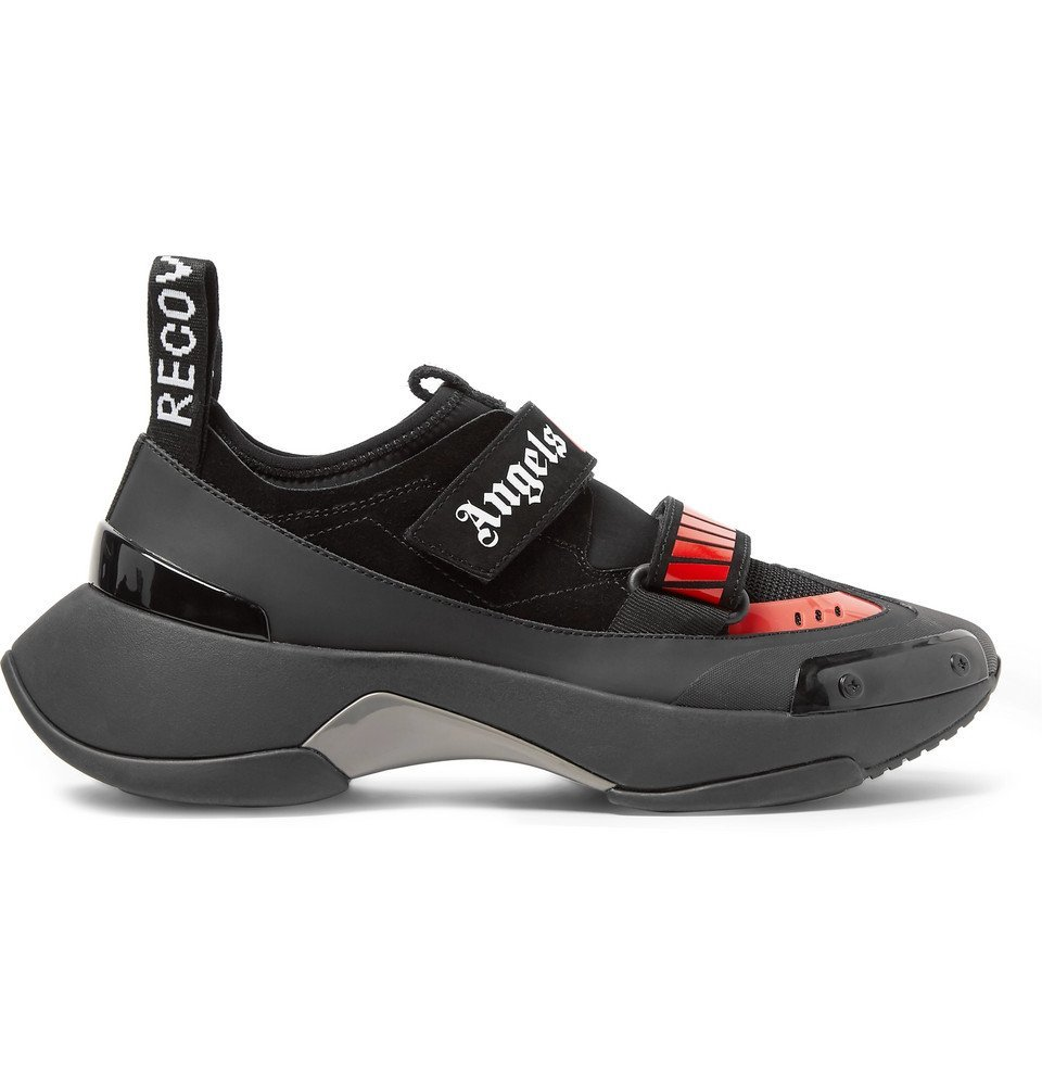 Photo: Palm Angels - Recovery Suede, Neoprene and Rubber Sneakers - Black