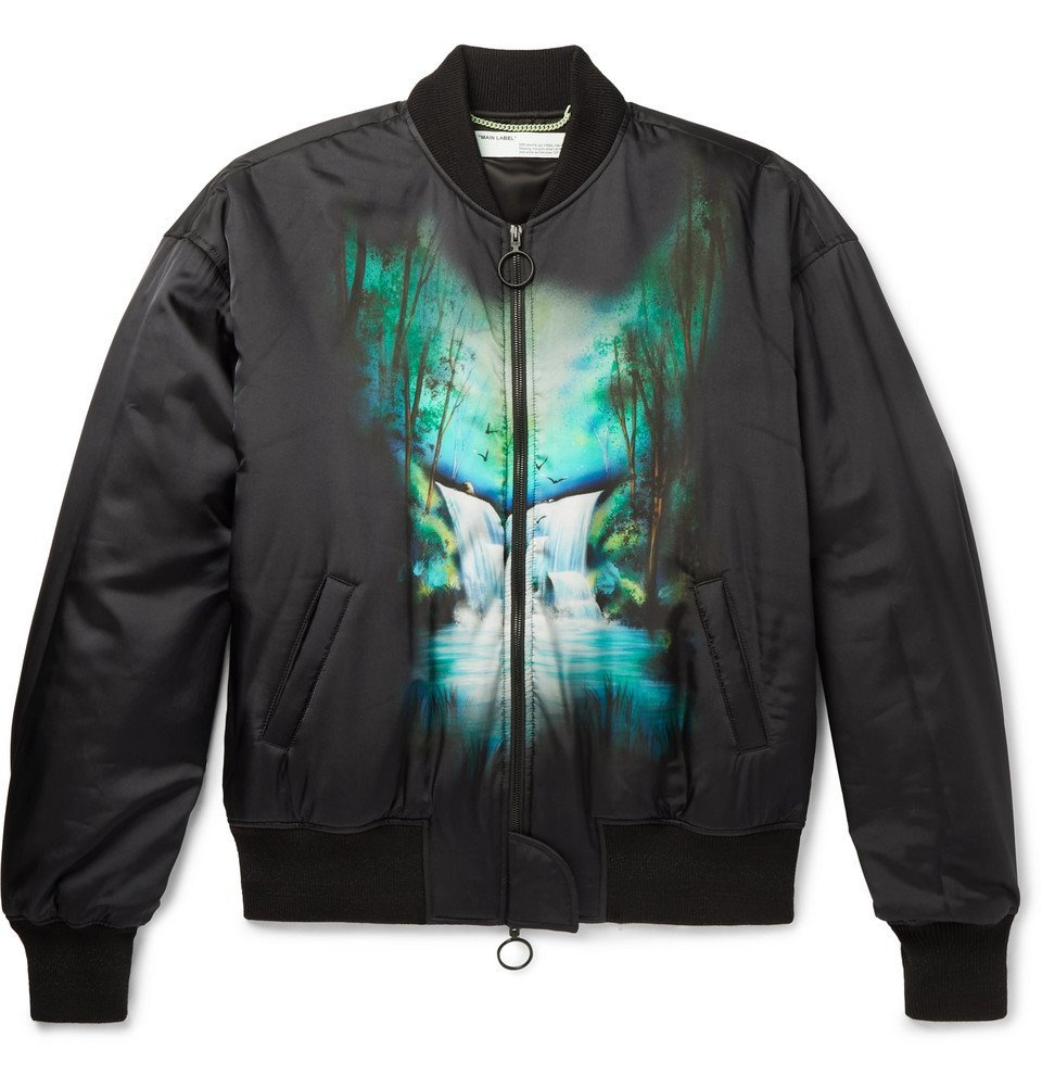 Photo: Off-White - Oversized Printed Satin Bomber Jacket - Black