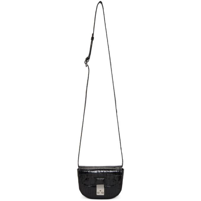 3.1 Phillip Lim Black Croc Mini Pashli Saddle Bag