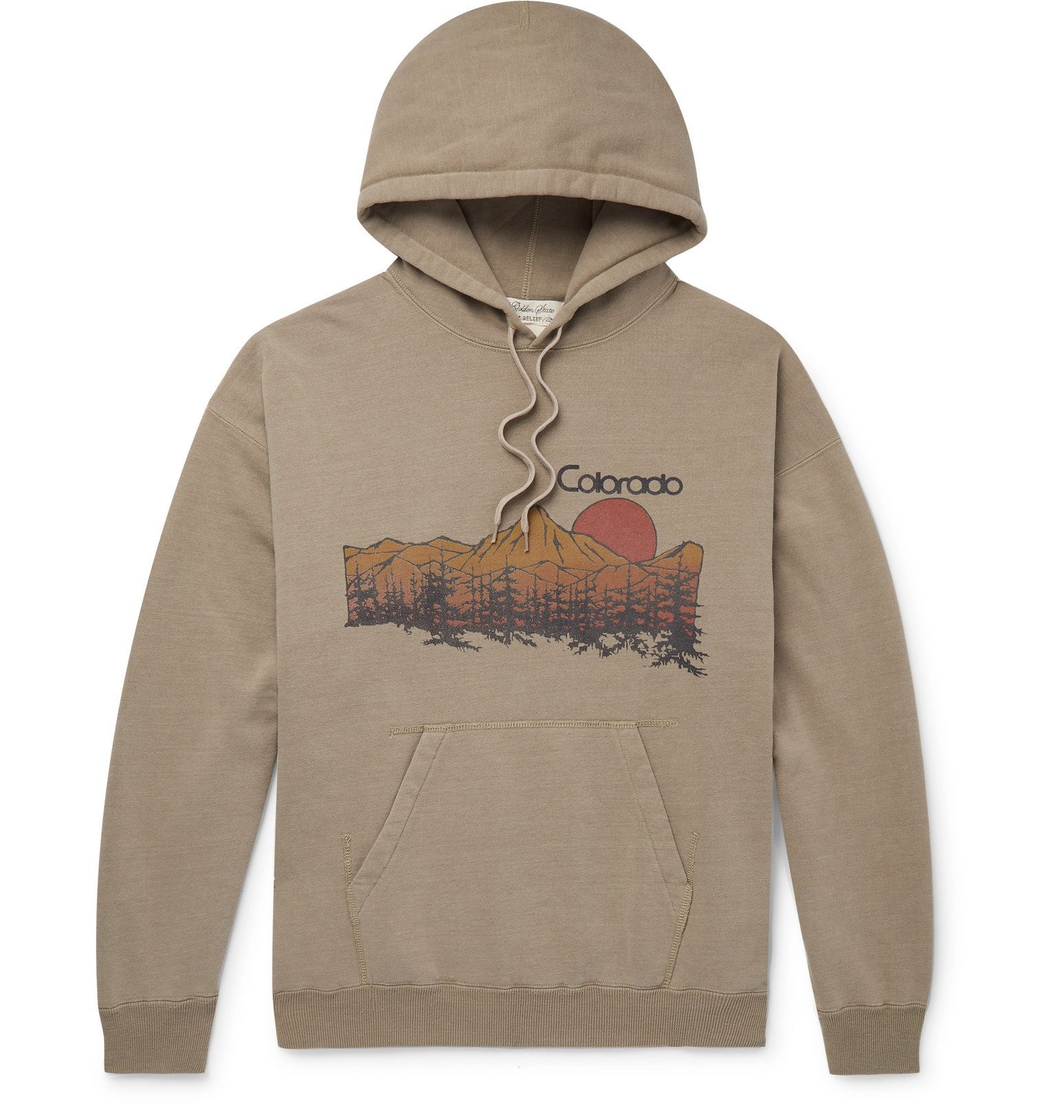 Photo: Remi Relief - Colorado Printed Loopback Cotton-Blend Jersey Hoodie - Neutrals