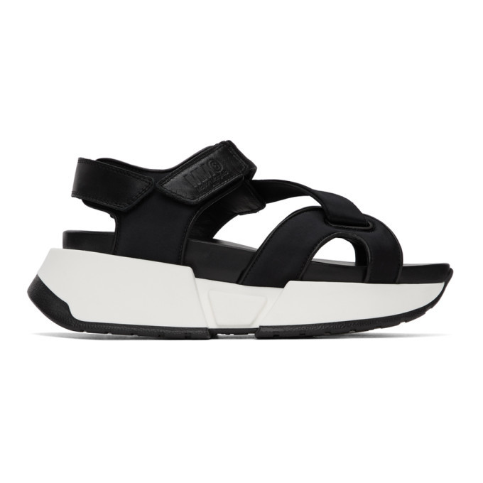 Photo: MM6 Maison Margiela Black Multi Strap Sandals