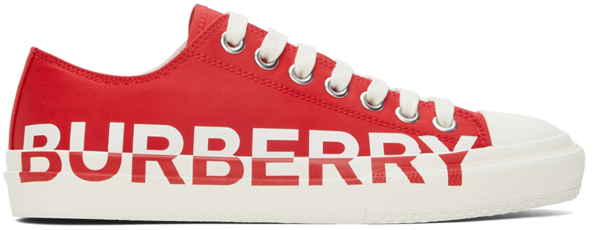 Photo: Burberry Gabardine Logo Print Low Sneakers