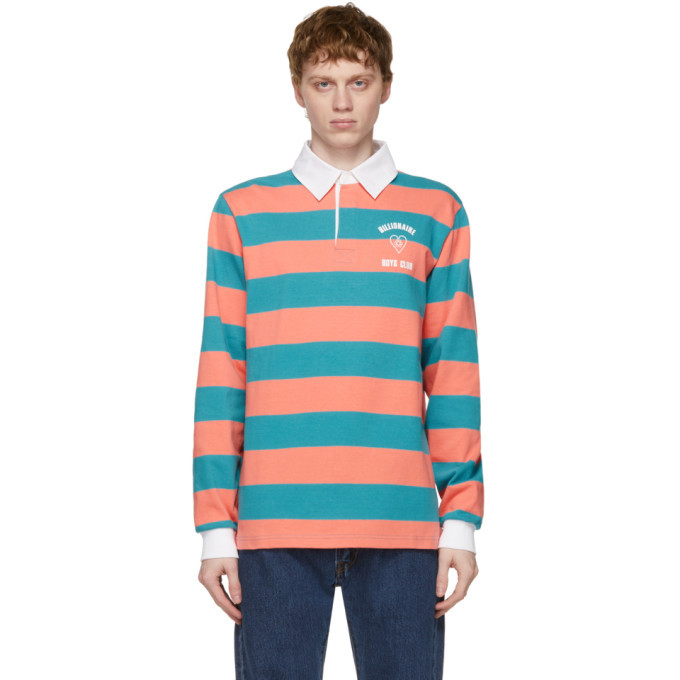 Photo: Billionaire Boys Club Pink and Blue Striped Rugby Long Sleeve Polo