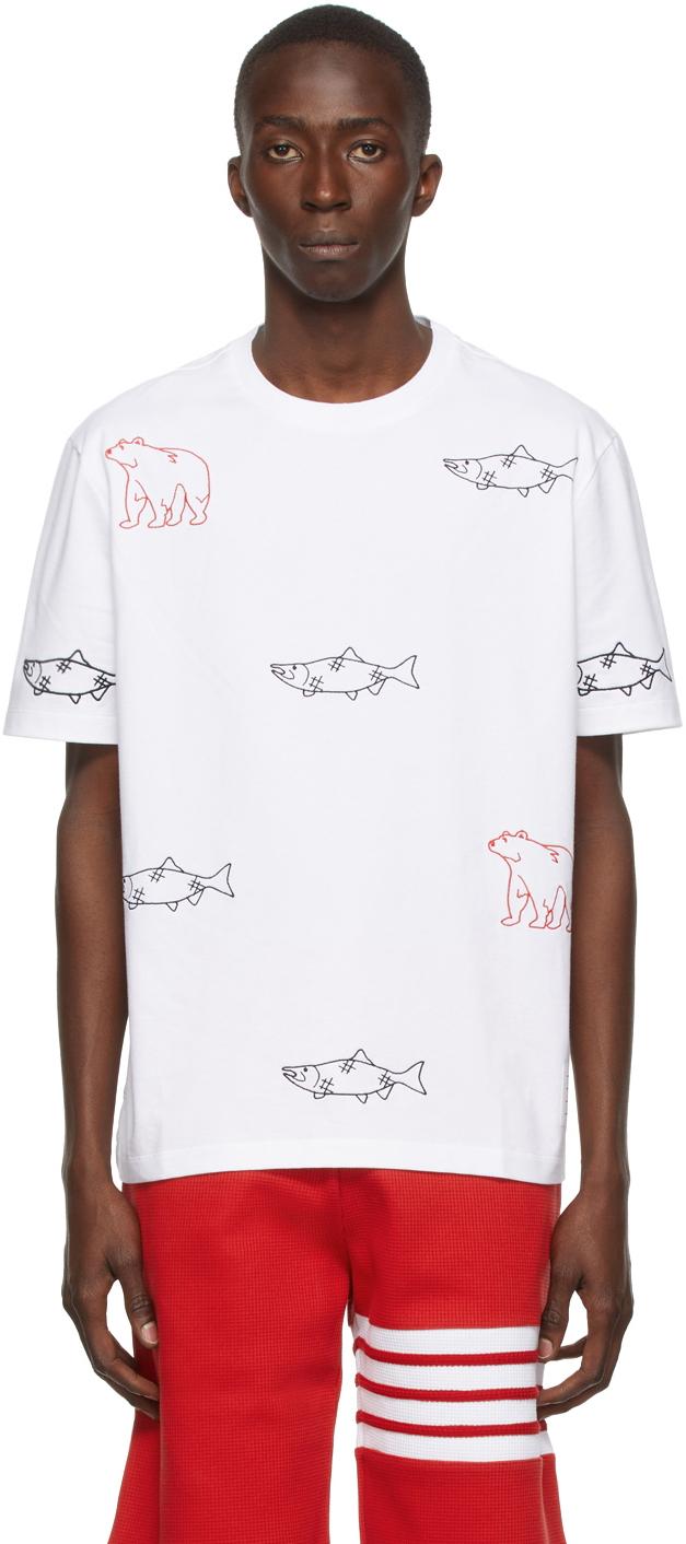 Photo: Thom Browne White Bear & Salmon Half Drop Embroidery T-Shirt