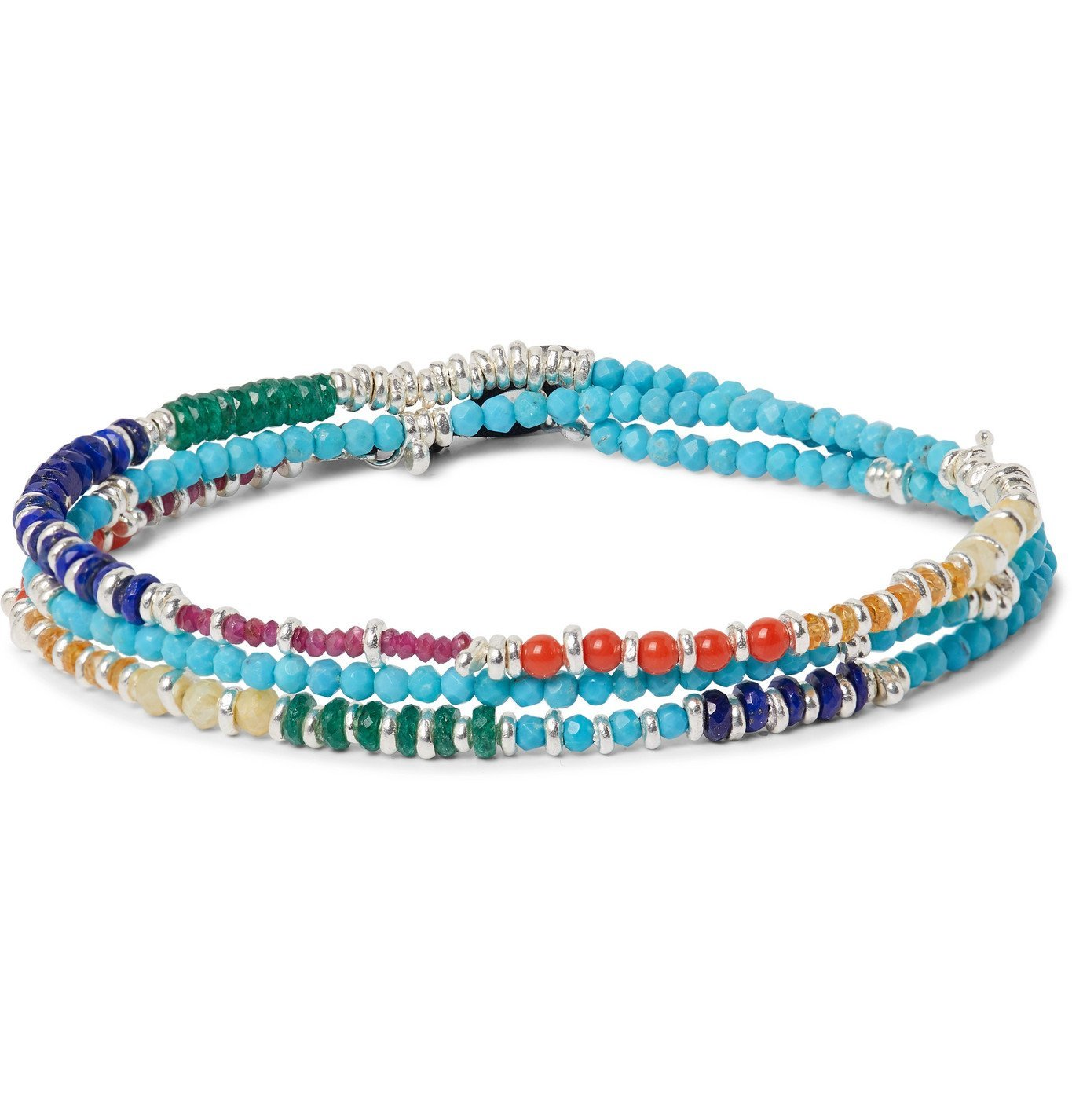 Photo: Peyote Bird - Multi-Stone and Sterling Silver Beaded Wrap Bracelet - Blue