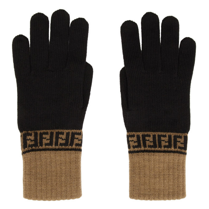 Photo: Fendi Brown and Black Forever Fendi Gloves