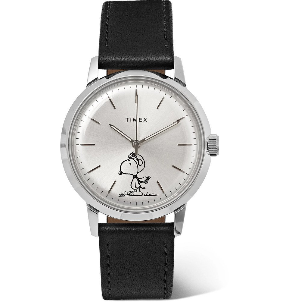 Photo: Timex - Peanuts Marlin Automatic Stainless Steel and Leather Watch - Silver