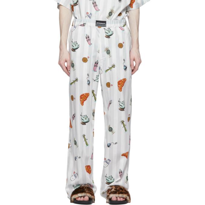 Photo: VETEMENTS White Stripe Graphic Breakfast Trousers