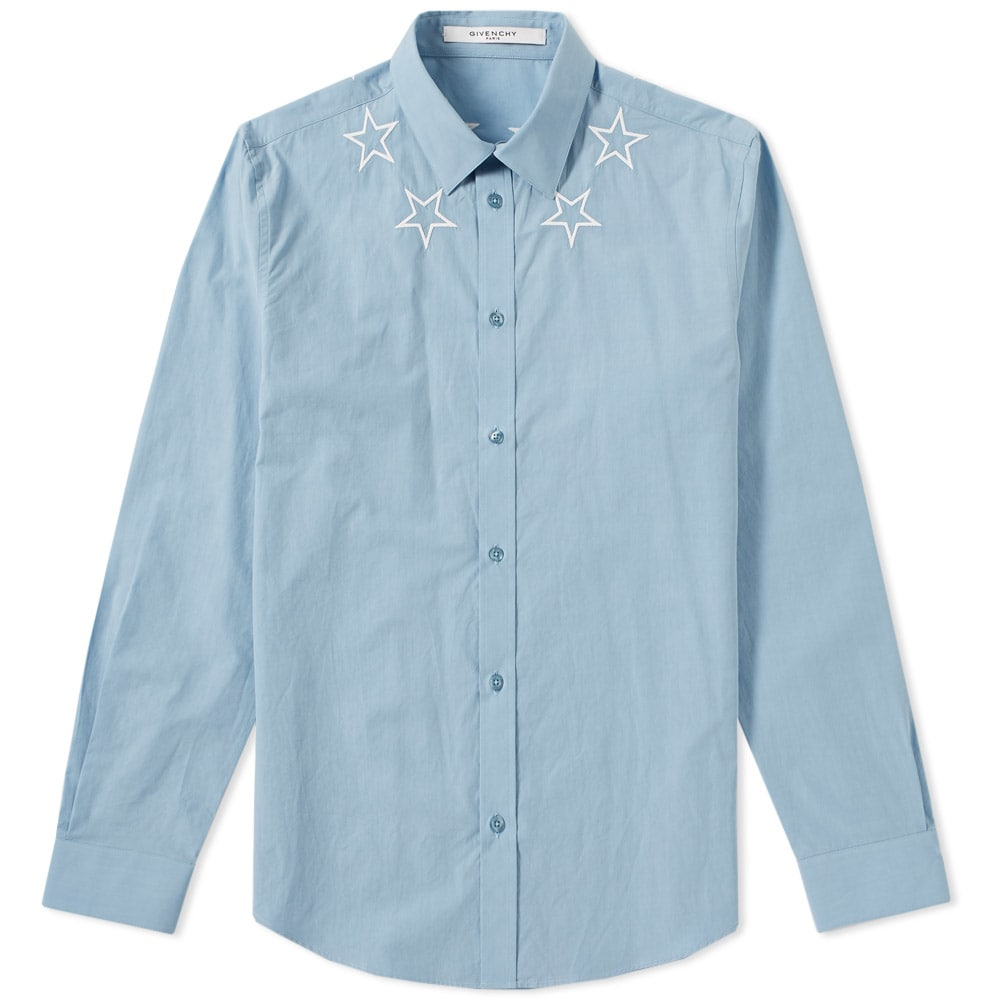 Photo: Givenchy Star Embroidered Neck Poplin Shirt