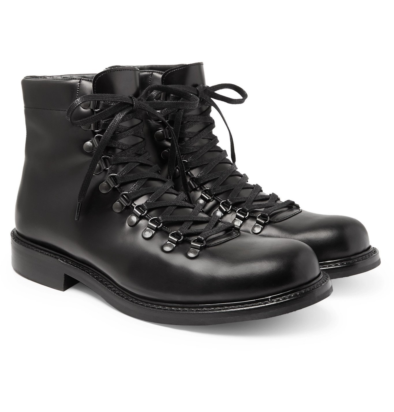 Photo: Mr P. - Heath Shearling-Lined Leather Boots - Black