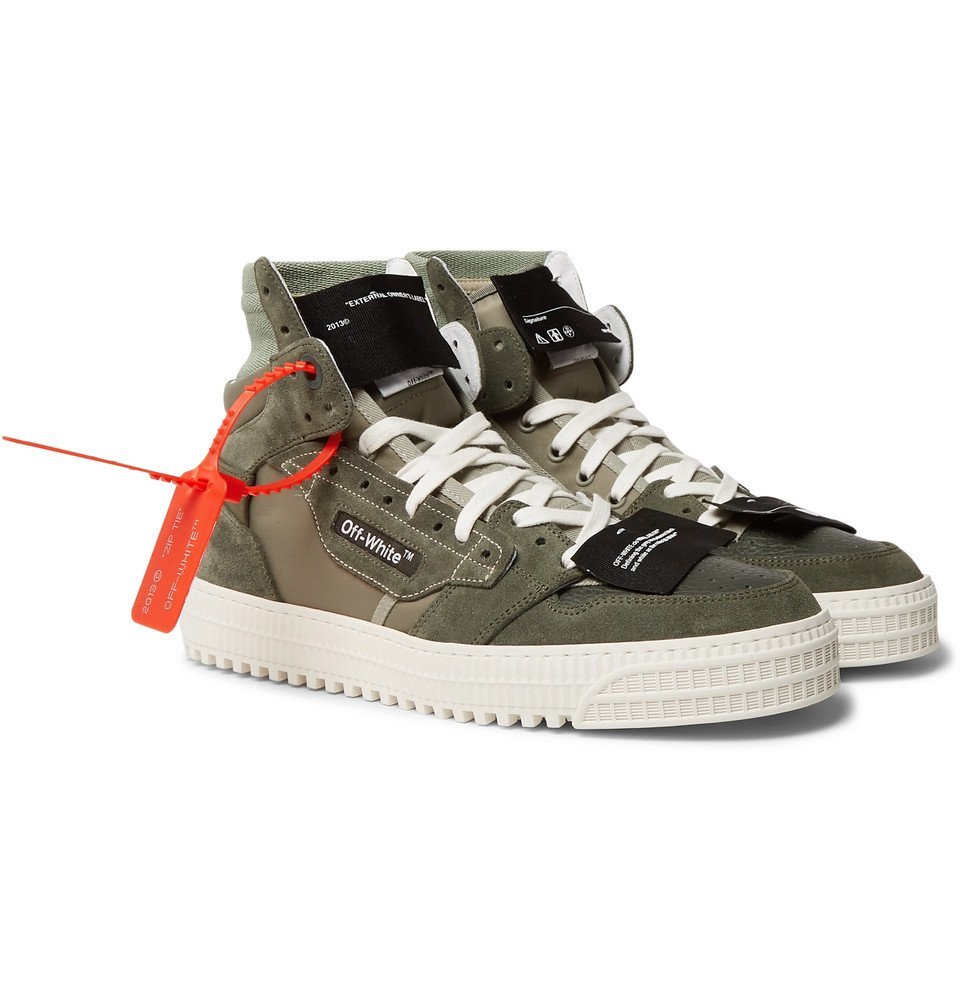 Photo: Off-White - Off-Court Leather and Suede High-Top Sneakers - Army green