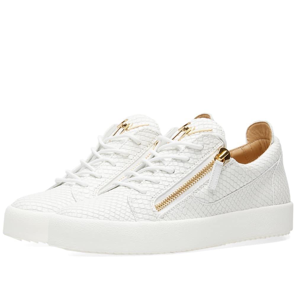 Photo: Giuseppe Zanotti Double Zip Python Leather Low Sneaker White