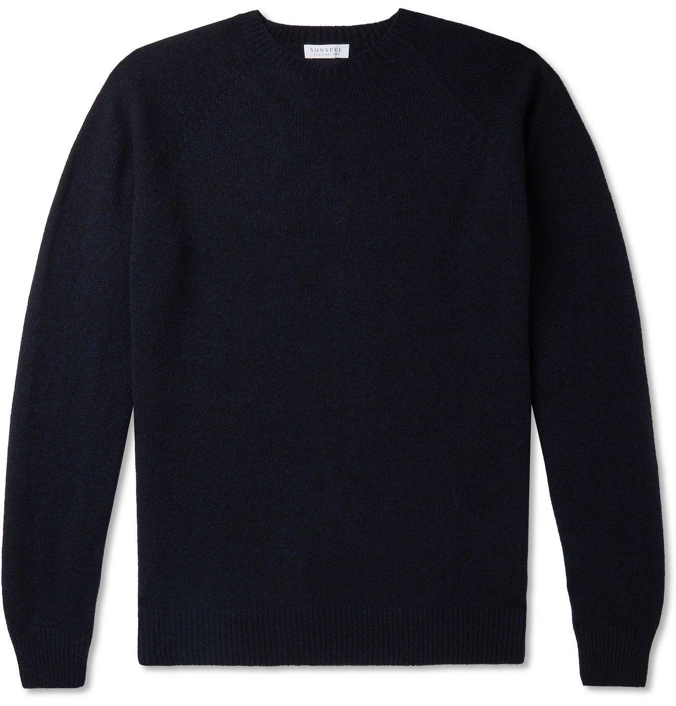 Photo: Sunspel - Mélange Shetland Wool Sweater - Blue