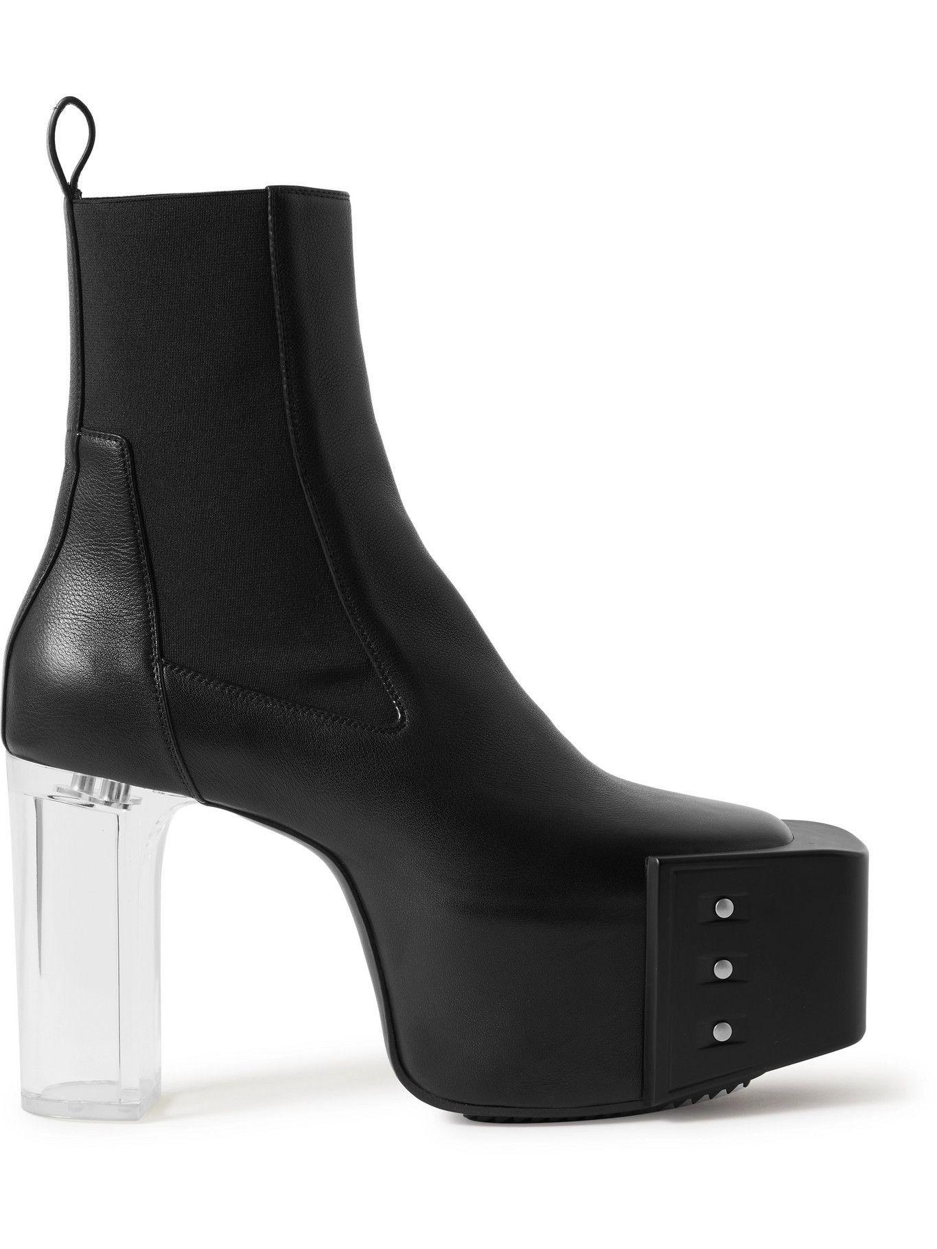 Photo: Rick Owens - Studded Leather Platform Chelsea Booots - Black