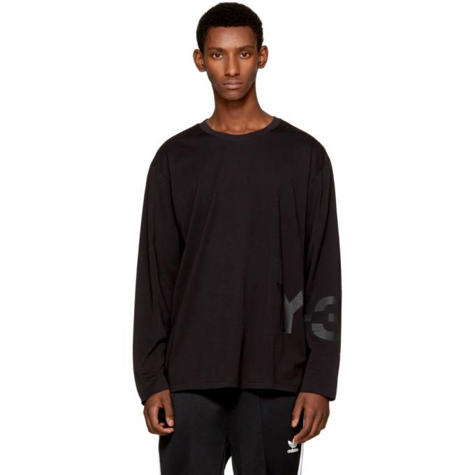 Photo: Y-3 Black Long Sleeve Classic Logo T-Shirt