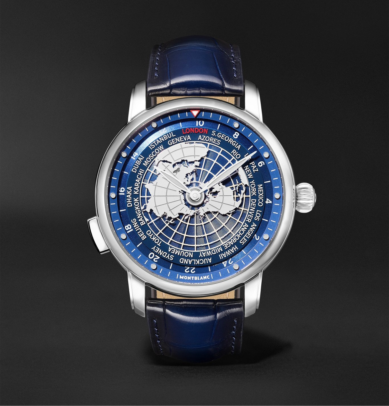 Photo: Montblanc - Star Legacy Orbis Terrarum Automatic 43mm Stainless Steel and Alligator Watch, Ref. No. 126108 - Blue