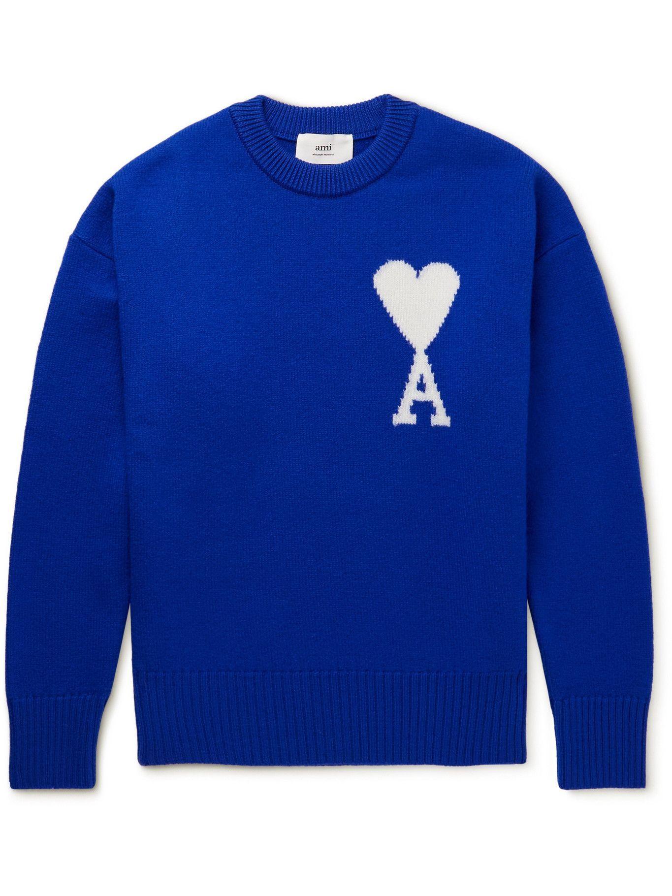 Photo: AMI PARIS - Intarsia Wool Sweater - Blue