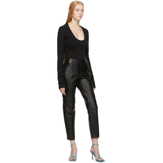 Bottega Veneta Black Leather Biker Trousers