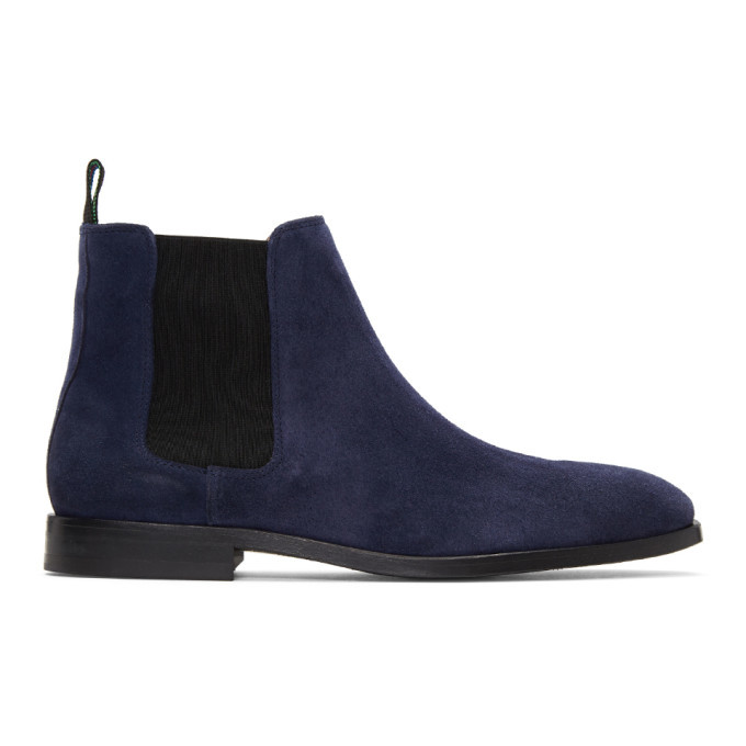 Photo: PS by Paul Smith Blue Suede Gerald Chelsea Boots
