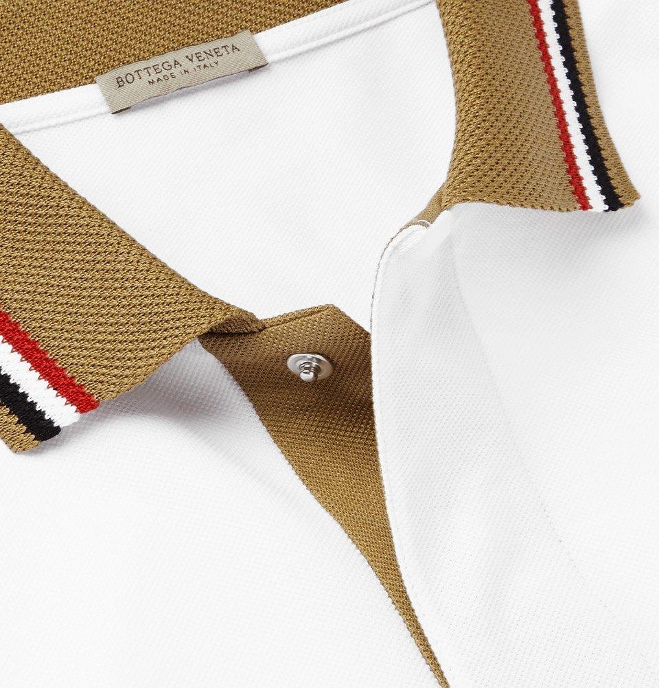 Bottega Veneta - Contrast-Tipped Organic Cotton-Piqué Polo Shirt - White