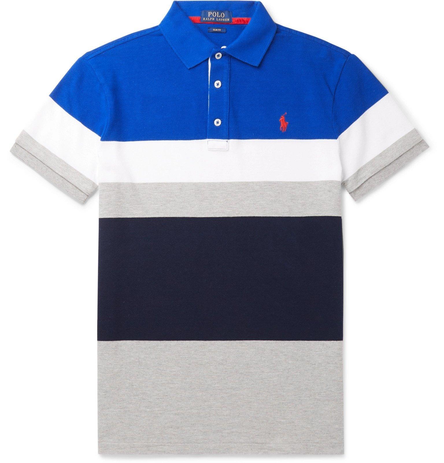 Photo: Polo Ralph Lauren - Slim-Fit Striped Cotton-Piqué Polo Shirt - Blue