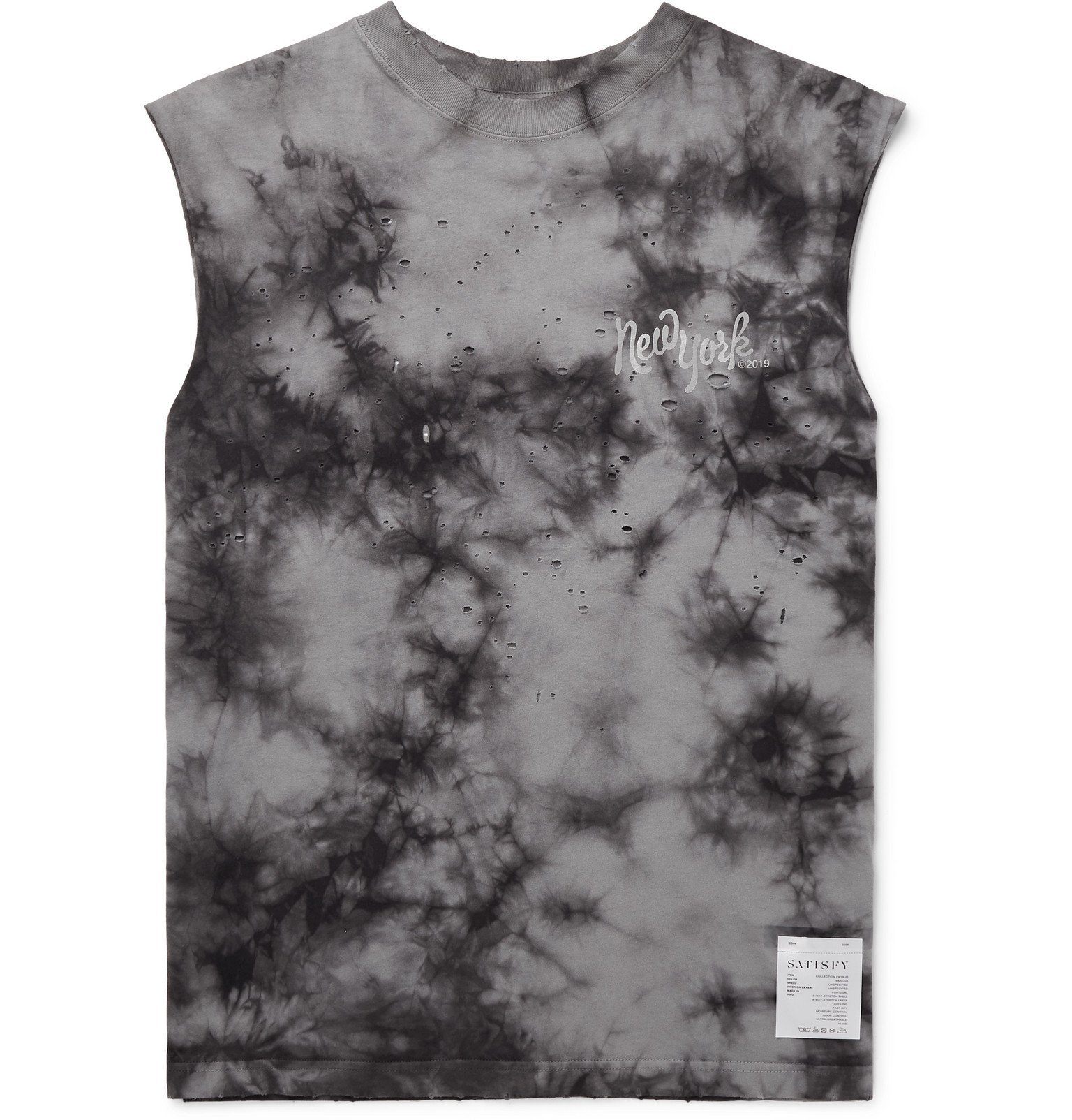 Photo: Satisfy - Distressed Printed Tie-Dyed Cotton-Jersey Tank Top - Black