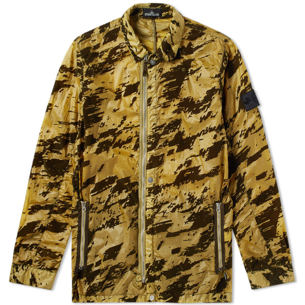 Photo: Stone Island Shadow Project Lucid Flock Garment Dyed Shirt Jacket Green