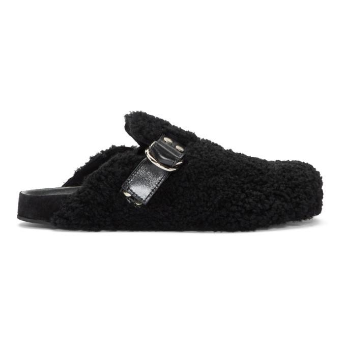 Photo: Isabel Marant Black Shearling Murfee Slip-On Loafers