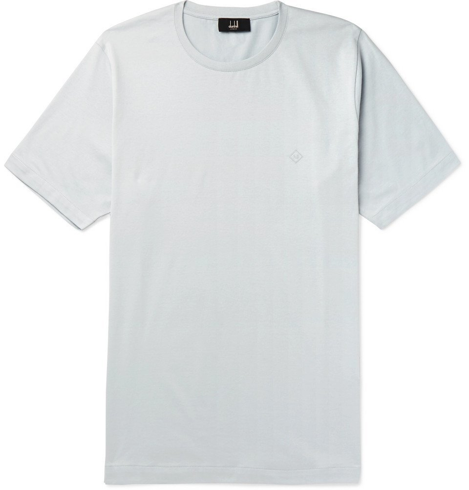 Dunhill - Logo-Embroidered Cotton-Jersey T-Shirt - Gray