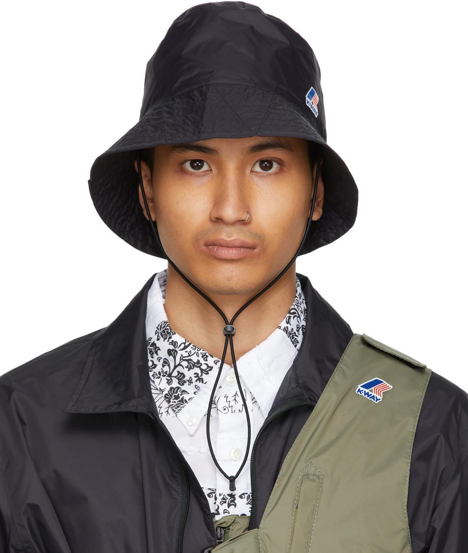 Photo: Engineered Garments Black K-Way Edition Pascalen 3.0 Bucket Hat