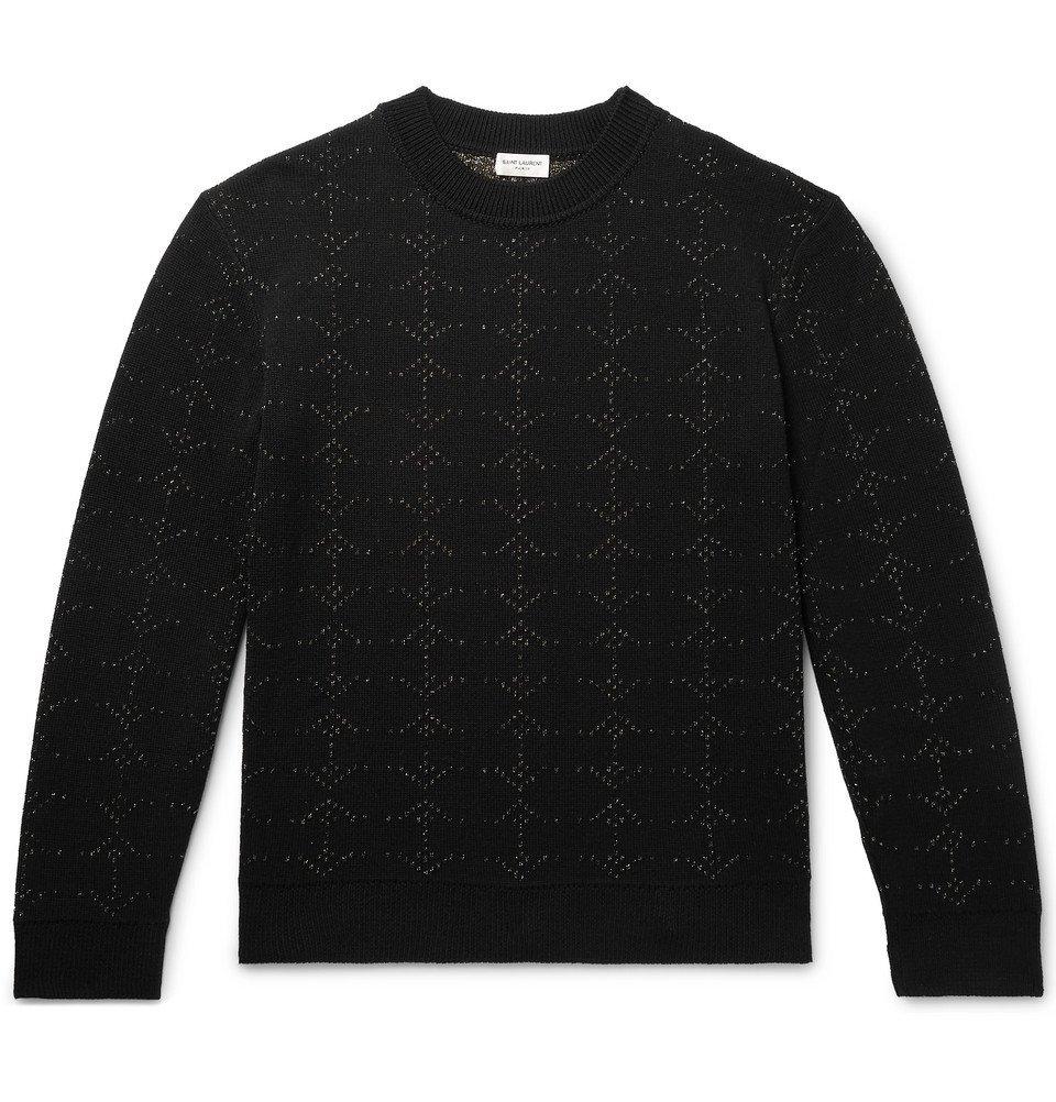 Photo: SAINT LAURENT - Metallic Wool-Blend Jacquard Sweater - Black
