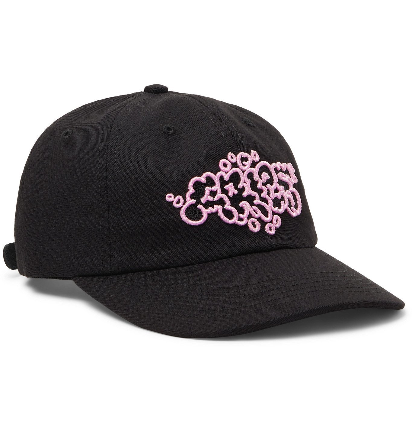 Photo: Aries - Bubble Embroidered Cotton-Twill Baseball Cap - Black