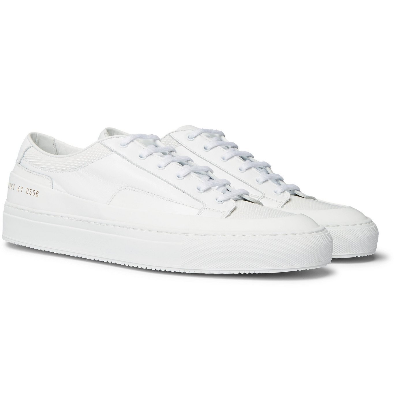 Photo: Common Projects - Achilles Super Mesh-Trimmed Leather Sneakers - White